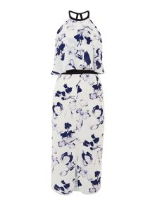 Lost Ink Sleeveless Halter Neck Printed Overlay Dress