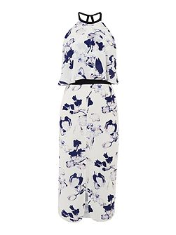 Sleeveless Halter Neck Printed Overlay Dress