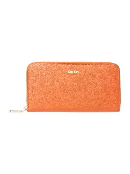 DKNY Chelsea orange large zip around purse