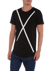 Only & Sons Rubber Cross Long Line Crew Neck T-shirt