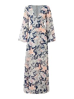 Long Sleeved Sketched Printed Maxi Dress