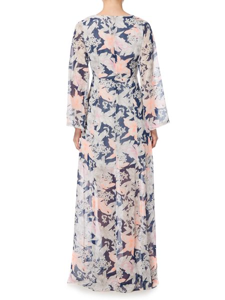 Lost Ink Long Sleeved Sketched Printed Maxi Dress