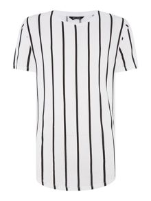 Only & Sons Vertical Stripe Long Line Crew Neck T-shirt