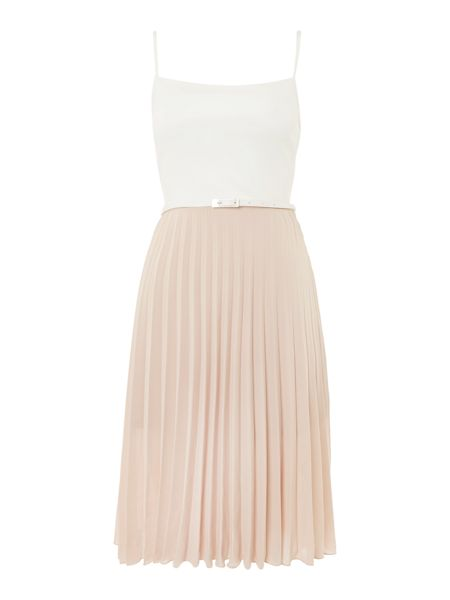 Lost Ink Sleevelses Pleated Dress with Belt
