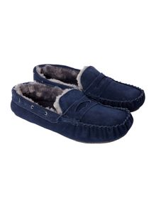 Howick Navy Moccasin Slipper