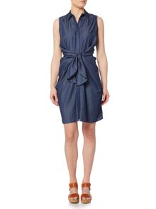 Lost Ink Sleeveless Denim Tie Waist Dress