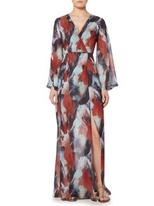 Lost Ink Long Sleeved Printed Maxi Dress