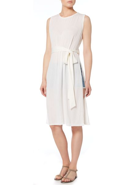 Lost Ink Sleeveless Cheesecloth Dress with Tie Waist