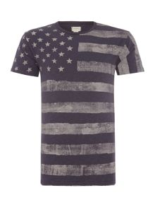 Denim and Supply Ralph Lauren Regular fit faded flag print t shirt