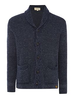 Shawl neck button front ribbed cardigan