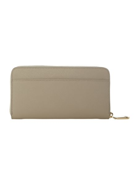 DKNY Saffiano neutral large zip around purse