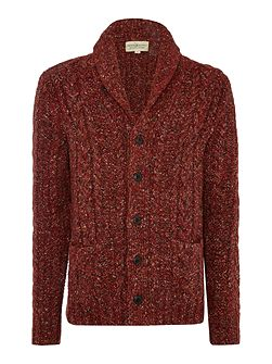 Shawl neck buttom front marl cardigan
