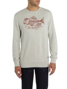 Denim and Supply Ralph Lauren Crew neck fish skeleton print sweatshirt