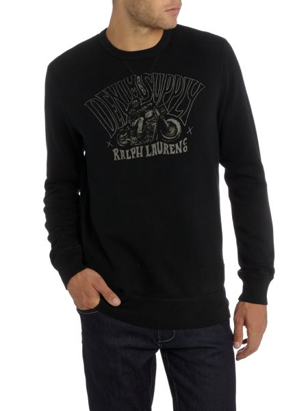 Denim and Supply Ralph Lauren Crew neck speeding biker print sweatshirt