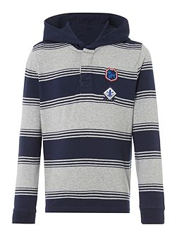 Long Sleeve Rugby hooded top with stripes