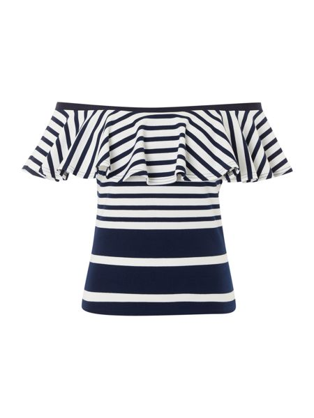 Lost Ink Off Shoulder Ruffle Striped Top