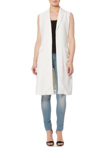 Lost Ink Sleeveless Tie Waist Jacket
