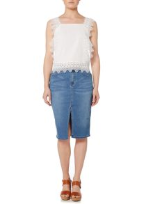 Lost Ink Front Split Denim Skirt