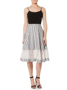 Lost Ink Textured Striped Midi Skirt