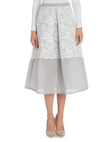 Lost Ink Lace Overlay Midi Skirt