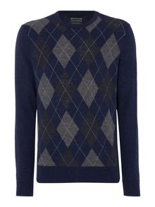 Howick Arlington Argyle Crew Neck Jumper