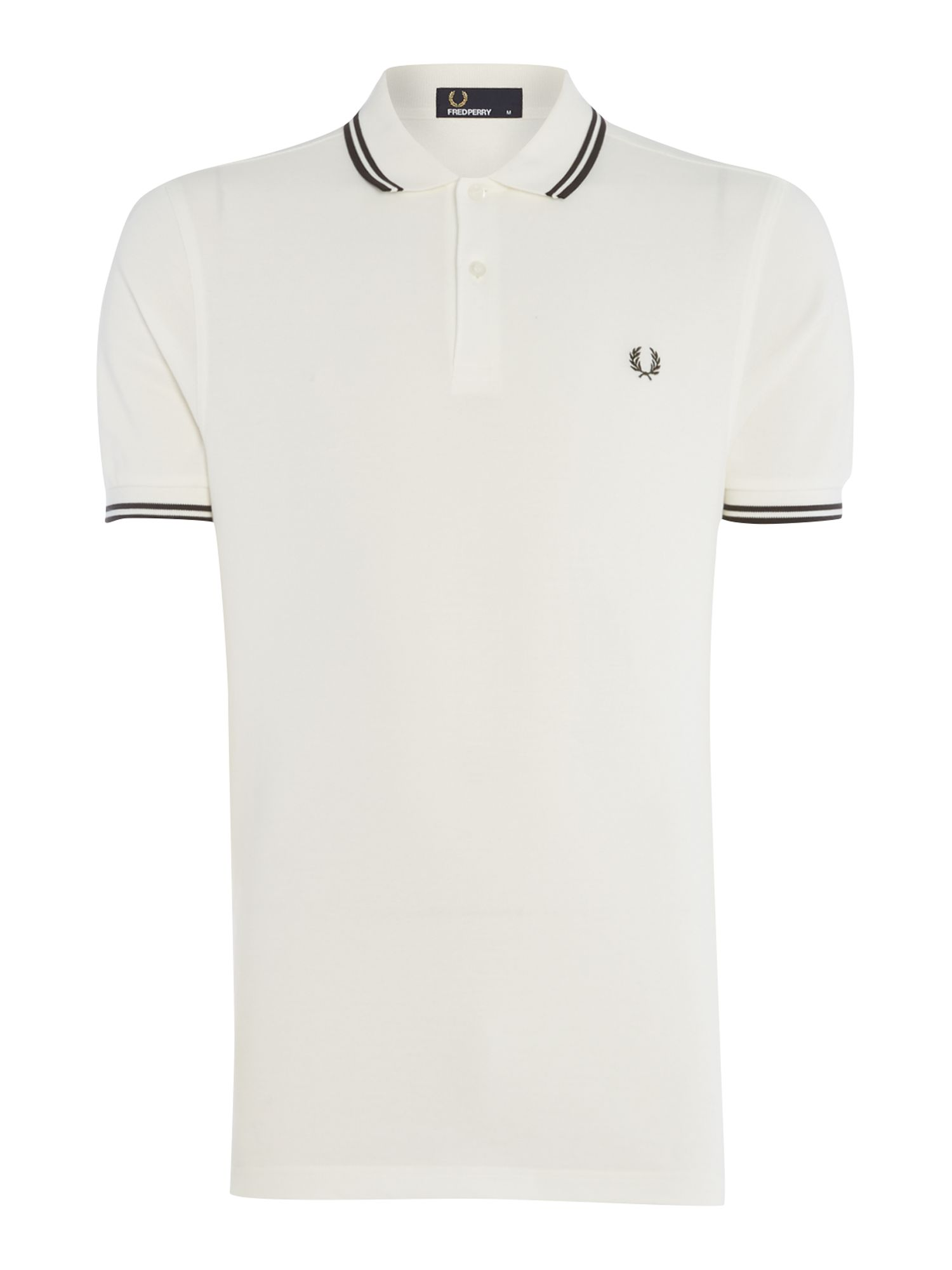 Mens Fred Perry Twin Tipped Polo Shirt White