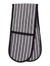 Linea Butcher stripe black double oven glove