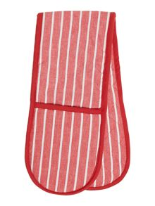 Linea Butcher stripe red double oven glove