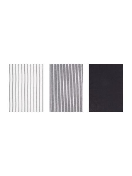Linea Butcher stripe set of 3 tea towels black