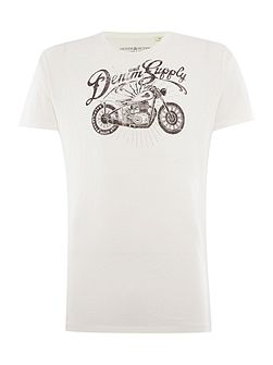 Regular fit motorcycle logo printed t shirt