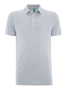 Benetton Micro Dot Detail Short Sleeve Polo Shirt
