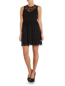 Vero Moda Sleeveless Skater Dress with Lace Top