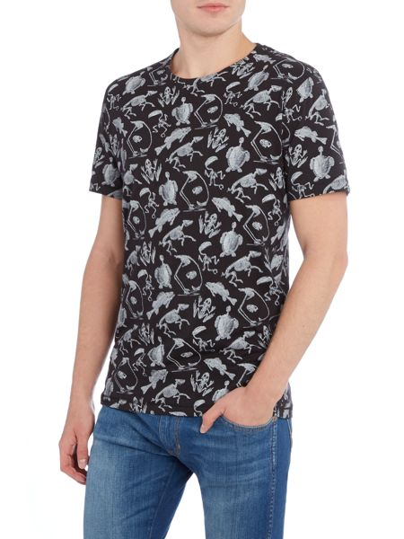Only & Sons Skeleton All Over Print Crew Neck T-shirt