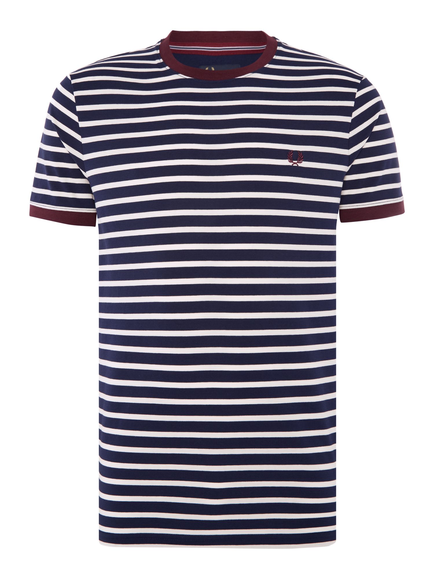 Men's Fred Perry Breton stripe ringer tshirt, Dark Blue