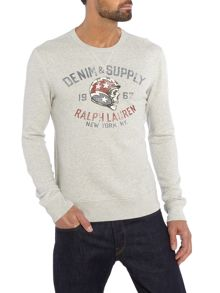 Denim and Supply Ralph Lauren Crew neck helmeted skull print sweatshirt