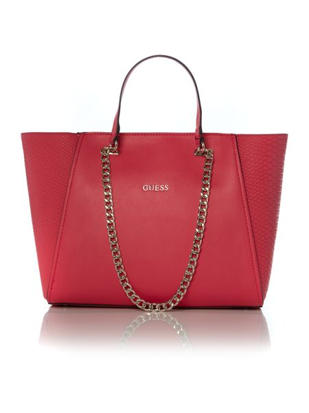 Guess Pink chain tote bag