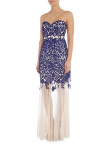 Lipsy Strapless Bandeau Lace Maxi Dress