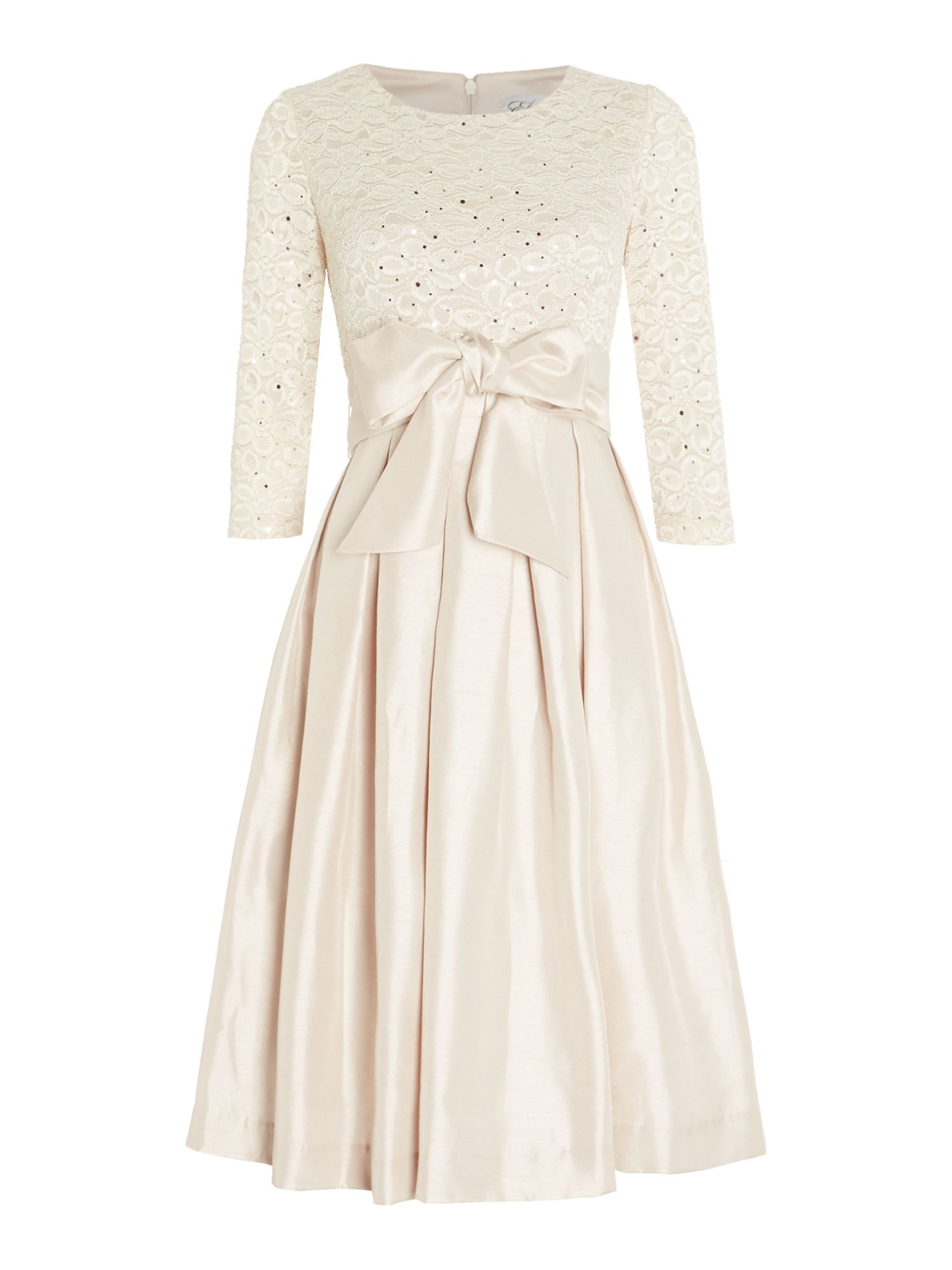 Eliza J Long sleeve fit and flare dress with lace Champagne £130.00 AT vintagedancer.com