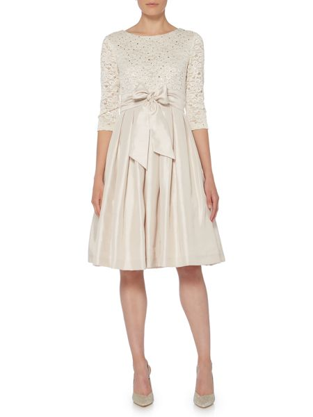 Eliza J Long sleeve fit and flare dress with lace
