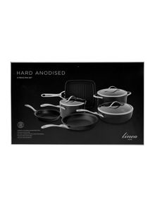 Linea 6 Piece Hard Anodised Pan Set
