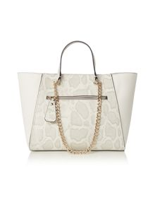 Guess White chain tote bag