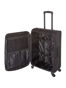 Linea Oxford black 4 wheel soft medium suitcase
