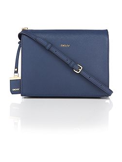 Saffiano navy zip top crossbody bag