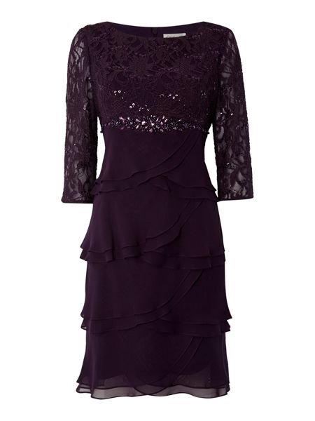 Eliza J Lace tiered chiffon dress
