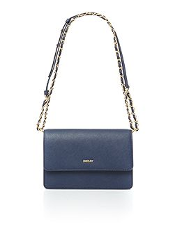 Saffiano Navy Flapover chain crossbody bag
