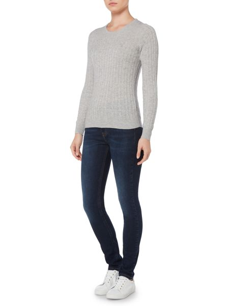 Gant Stretch Wool Cable Crew Neck Jumper