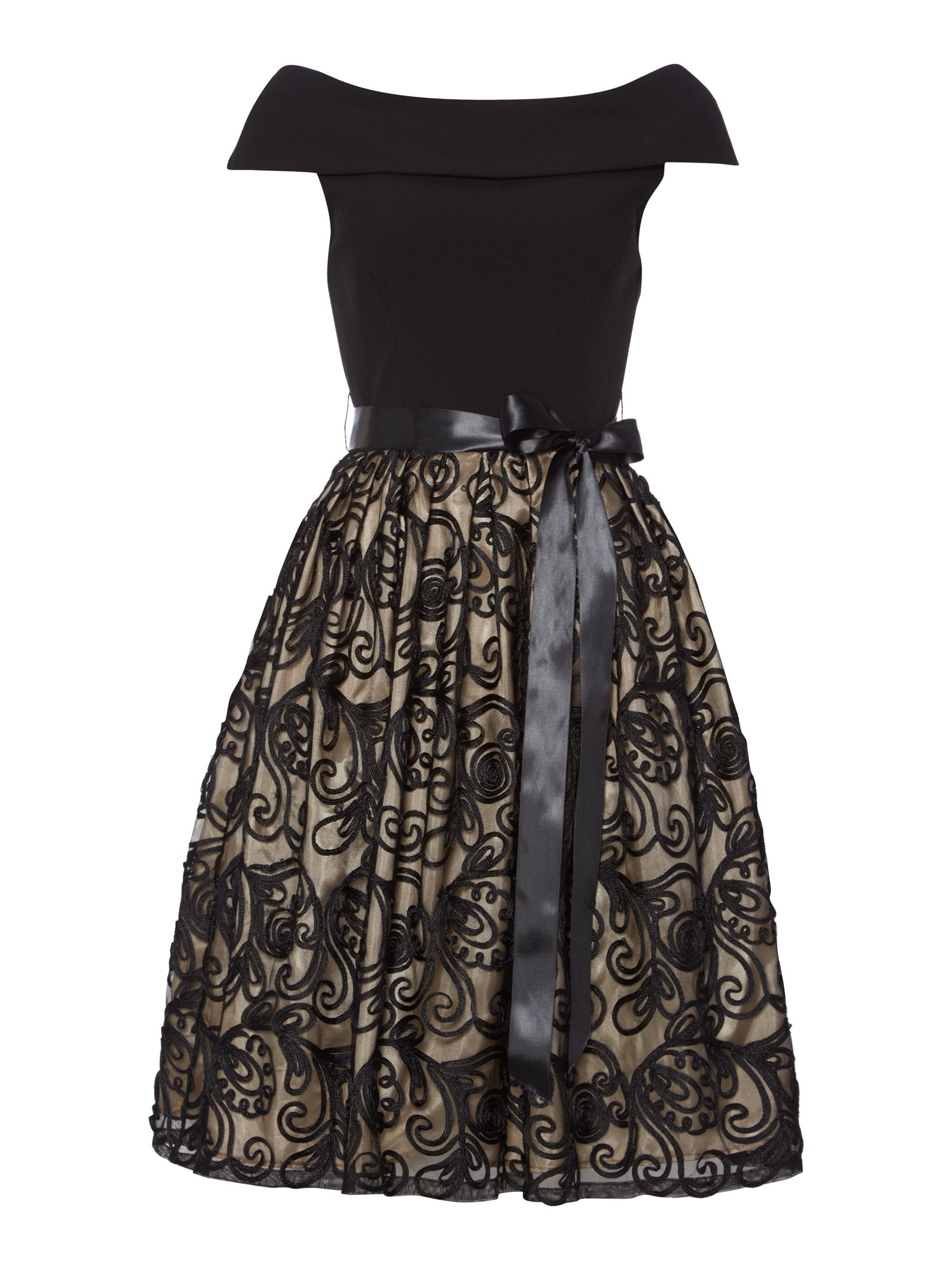 Eliza J Cowl neck fit and flare cornelli dress Black £150.00 AT vintagedancer.com