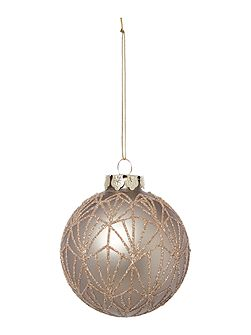 Pewter matte deco bauble with glitter