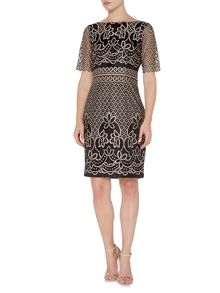 Eliza J Round neck 3/4 sleeve metalic midi lace dress