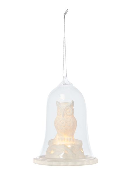 Linea Light up owl in dome decoration